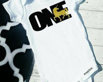 First Birthday Shirt, UNICORN, First Birthday Outfit, Gold,  Black, White, One, Birthday Shirt, Girl Birthday shirt
