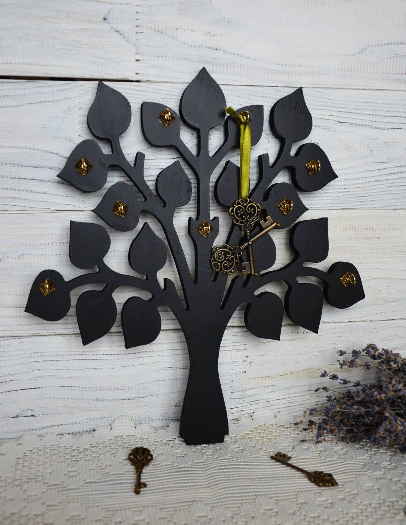 Black Tree Wall Key Holder Wooden Tree Wall Decor Key Board