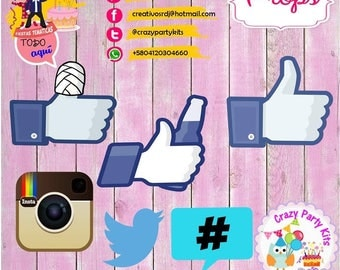 Props social networking Kit #Imprimible (#Accesorios) #DIY PhotoBooth