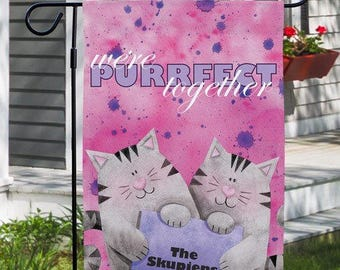 Personalized Couples Garden Flag Purrfect Together Decorative Flag