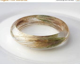 Sale Real wheat bracelet Botanical bangle  Gift for her Woodland bangle Bohemian bracelet Real flower bangle Resin jewelry Terrarium Flower
