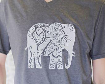 V-neck Gray Elephant Men's Tee-Shirt