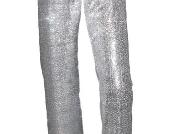 Sequin pants with soft stretch velvet waistband straight leg fully lined by Ooh la la