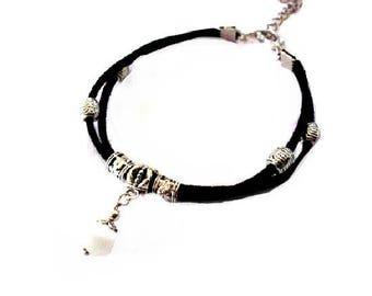 Black Suede, White Pearl bracelet