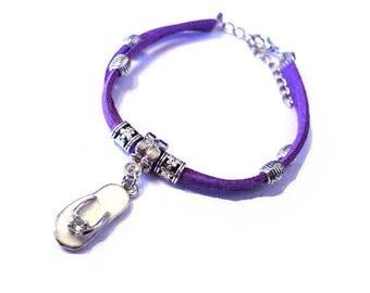 Purple Suede, white Tongue charm bracelet