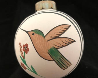 Vintage Hand Painted Hummingbird and Flowers Ball Ornament