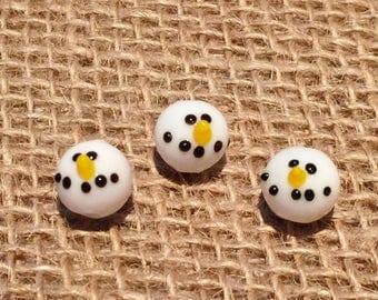 Snowman Head Bead   Lampwork Glass Beads   Christmas Bracelet   Snowman Earrings   11mm