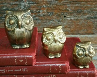 Vintage Brass Owl Trio, Brass Owl Family, Set Of 3, Owl Collectibles