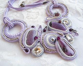 Purple necklace Lilac necklace Stichtite necklace Gift ideas Christmas gift Statement necklace