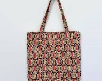 tote bag red, Brown, yellow and ecru jacquard ethnic patterned fabric