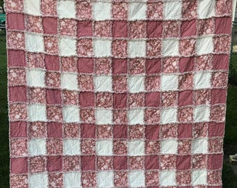 """Dusty Rose Floral Solid and Ivory Rag Quilt 69""""x80""""Reversible Twin Full Queen Homemade Dusty Rose Mauve Flannel Ivory Rag Quilt"""