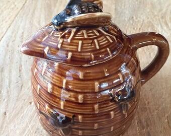 Vintage Ceramic Bee Skep Honey Pot, Brown Glazed Ceramic Bee Hive, Honey Bees, Bumble Bees, Bee Collectible