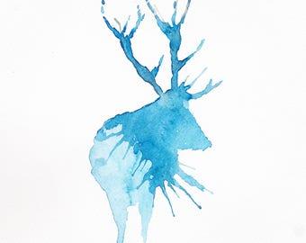 Blue Stag Watercolour Print