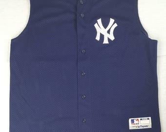 New York Yankees XL Majestic Mesh Jersey Vest 20 Jorge Posada Team MLB Baseball Vintage 90s Made In USA Free Shipping Bronx Bombers
