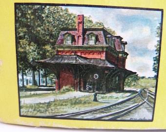 "Jigsaw Puzzle, 620 Interlocking Pieces, of ""Old Bennington Station"", Artist: Gene Pelham, Made in the USA,"
