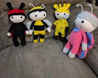 Set of 4 Amiugumi Costumed Plushies