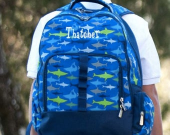 Monogrammed Jaw-some Backpack ~ Monogrammed boys backpack ~ Back to school backpack