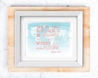 Proverbs 31:26 on World Map   Nursery Wall Art printable 8x10 and 5x7
