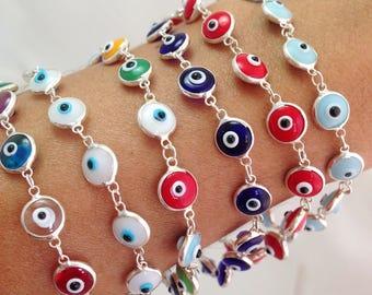 Evil Eye Bracelet, Silver Evil Eye Bracelet Glass Bead 6 mm, Evil Eye Jewelry, Beaded Bracelet, Gift For Women Silverbar55