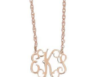 Petite Rose Gold Monogram FIligree Necklace - Interlocking Collection