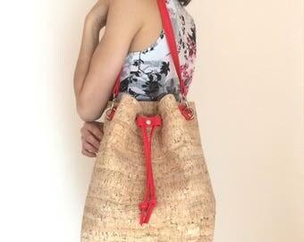 Cork bag, cork bucket bag, cork purse, vegan bag