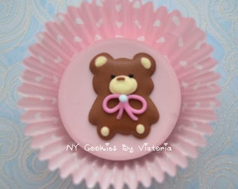 Two Dozen- Fresh Chocolate Covered Oreos With a Cute Bear - 2 Dozen ; Baby Shower Cookies for Candy Table