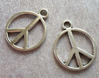 Peace and love charms, pendants, peace, silver - 17 x 14 mm