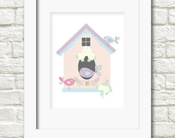 A4 bird house print girls wall art
