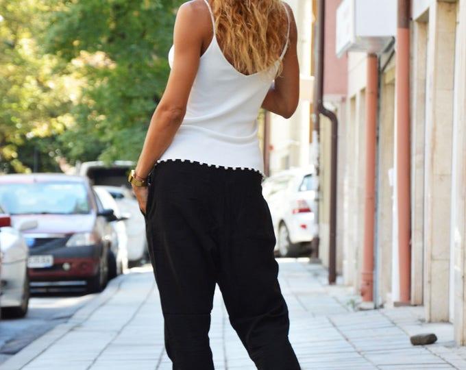 Casua Linen Black Pants, Extravagant Harem Pants, Wide Leg Pants with pocket, Maxi Trousers by SSDfashion