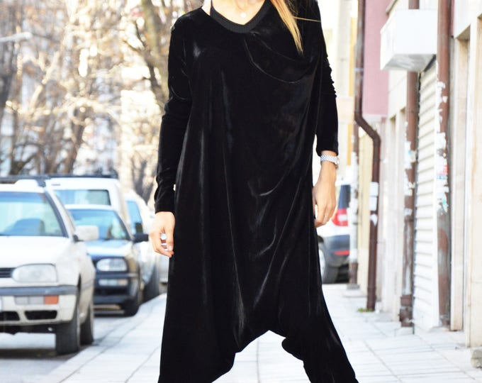 Extravagant Black Velvet Jumpsuit, Extra Long Sleeves, Loose Jumpsuit, Maxi Drop Crotch Harem Pants by SSDfashion