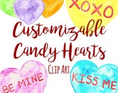 Customizable Watercolor Candy Conversation Heart Clip Art, Custom Invitations Clip Art, Watercolor Heart Valentine's Day Clip Art, Candy Art