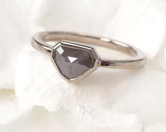 Rose Cut Diamond Engagement Ring | Eco Friendly 18ct White Gold | Handmade in the UK