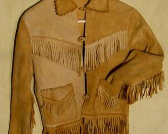 Buckskin fringe jacket / leather fringe jacket