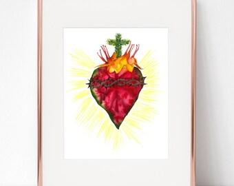 Botanical Sacred Heart of Jesus print