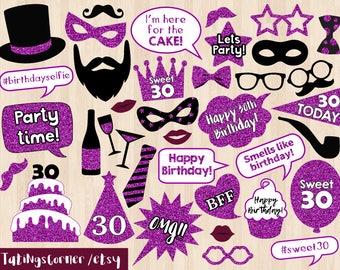 30th Birthday Photo Booth Props - 30th Birthday photo props - 30 Birthday Party - 30th Birthday Party - instant download - Thirty birthday