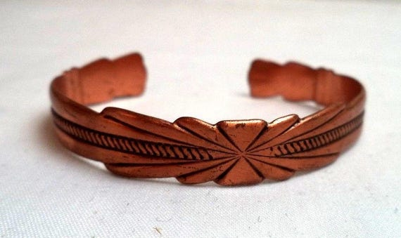 Vintage Solid Copper Cuff Bracelet - Size 6