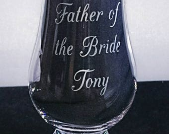 Father of the Bride/Groom Engraved Glencairn Whisky Glass - New - Boxed - Wedding Gift