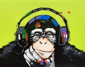 Pop Art Monkey With Headphones, Large Wall Art Decor, Colorful Green Background, Hand Painted Oil on Canvas, Thick Texture, Music Chimp