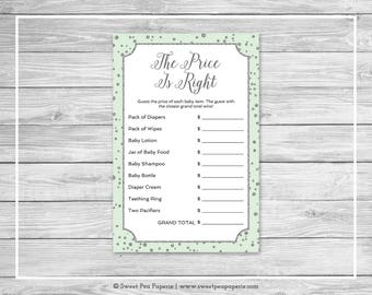 Mint and Silver Baby Shower Price Is Right Game - Printable Baby Shower Price Is Right Game - Mint and Silver Confetti Baby Shower - SP152