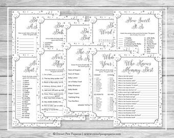 White and Silver Baby Shower Games - 10 Printable Baby Shower Games - White Silver Confetti Baby Shower - Baby Shower Game Package - SP154