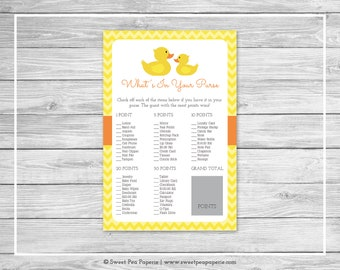 Rubber Ducky Baby Shower What's In Your Purse Game - Printable Baby Shower What's In Your Purse Game - Rubber Duck Baby Shower - SP121
