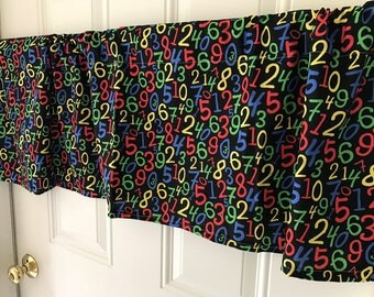 Black red yellow green Math Numbers Back to School classroom curtain Valance