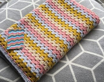 Gorgeous Mustard and Pink Granny Stripe Baby Blanket. New Baby or Baby Shower Gift!