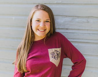 Monogram Pocket Long-Sleeve T-Shirt || Monogram T-Shirt || Pocket Monogram T-Shirt