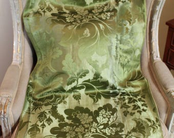 18th Century Lyone Silk Damask Green Floral Decor