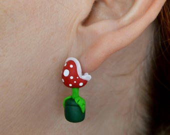 Piranha plant earring, inspired in Super Mario. Select 1 earring or a pair (2 in ''quantity)