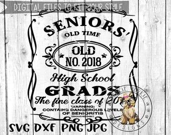Class of 2018, seniors High school graduation - SVG, DXF, Png, JPEG, cricut, studio Cut File