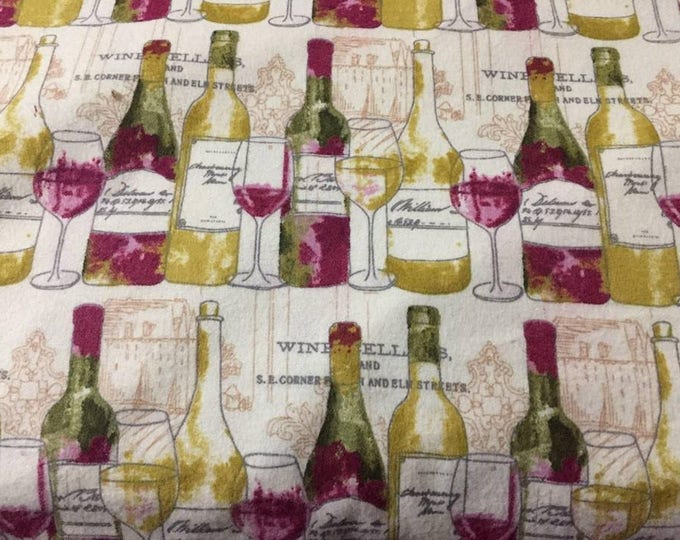 Wine Bottles Flannel Fabric by the Yard