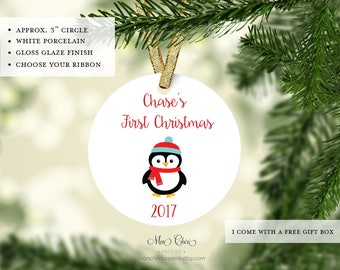 Penguin Baby's First Christmas Ornament | Custom Ornament | Christmas Ornament | Christmas Gift | Name Ornament | Personalized Gift Ornament