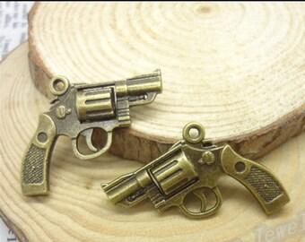 Tarnish Resistant Protective Copper Bronze Pistol Gun, Charm Necklace Pendant Jewelry Findings Part DIY,Gun1